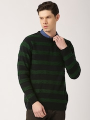 ETHER Navy & Green Striped Sweater