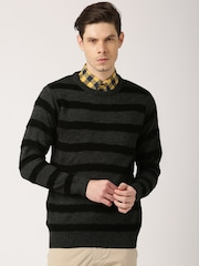 ETHER Charcoal Grey & Black Striped Sweater