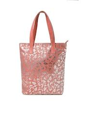 DressBerry Peach-Coloured Floral Print Tote Bag