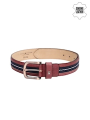 Tommy Hilfiger Men Burgandy & Navy Genuine Leather Belt