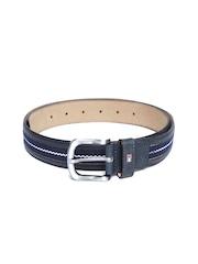 Tommy Hilfiger Men Navy Patterned Leather Belt