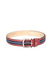 Tommy Hilfiger Men Red & Navy Patterned Leather Belt