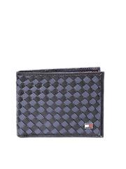 Tommy Hilfiger Men Navy Basketweave Genuine Leather Wallet