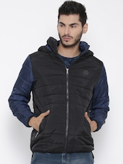 Roadster Black Colourblocked Hooded Quilted Jacket