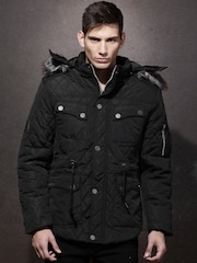 RDSTR Black Quilted Jacket with Detachable Hood