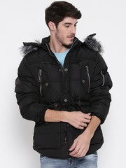 Roadster Black Parka Jacket with Detachable Hood