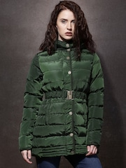 Roadster Olive Green Longline Hooded Puffer Jacket