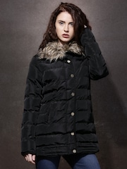 Roadster Black Puffer Jacket with Faux-Fur Trim