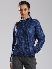 HRX by Hrithik Roshan Blue Printed Active Hooded Training Jacket
