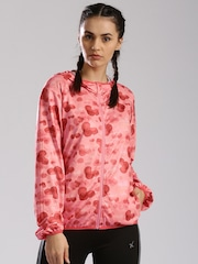 HRX by Hrithik Roshan Pink Printed Active Hooded Training Jacket