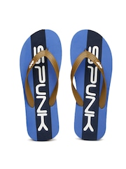 Spunk Men Tan Brown & Blue Heritage Colourblocked Flip-Flops