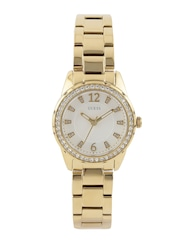 GUESS Women Off-White Stone-Studded Dial Watch W0445L2