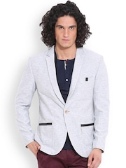 MR BUTTON Grey Melange Single-Breasted Structured Fit Casual Blazer