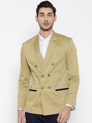 MR BUTTON Beige Double-Breasted Structured Fit Casual Blazer