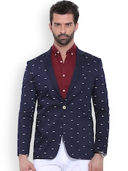 MR BUTTON Navy Printed Single-Breasted Structured Fit Casual Blazer
