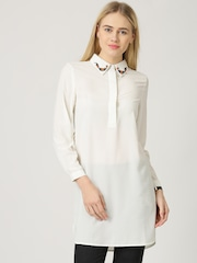 Marie Claire Off-White Crepe Beaded Tunic