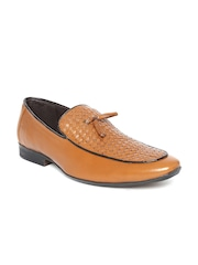 San Frissco Men Tan Brown Textured Semiformal Shoes