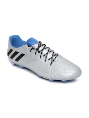 Adidas Men Silver-Toned Messi 16.3 FG Patterned Football Shoes