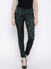 Wills Lifestyle Green Floral Patterned Slim Trousers