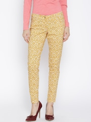 Wills Lifestyle Mustard Yellow Printed Slim Trousers