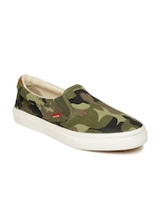 Levis Men Olive Green Camouflage Print Loafers