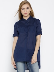 Wills Lifestyle Navy High-Low Tunic