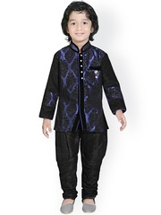 Jeetethnics Boys Blue & Black Silk Kurta Pyjama