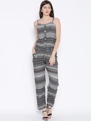 BIBA Black & White Printed Jumpsuit