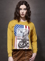 Roadster Women Yellow Printed Pullover