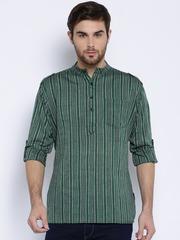Svanik Green & Grey Striped Short Kurta