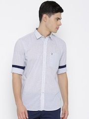 Allen Solly White & Blue Striped Sport Casual Shirt