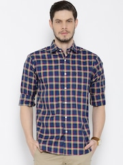 Allen Solly Navy & Yellow Checked Casual Shirt