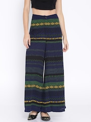 AND by Anita Dongre Navy Printed Palazzo Trousers
