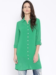 AND by Anita Dongre Green Polyester Tunic