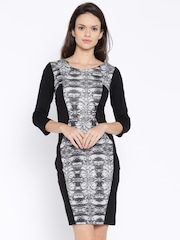 AND by Anita Dongre Black & Charcoal Grey Printed Sheath Dress