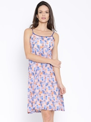 AND by Anita Dongre Blue & Peach-Coloured Printed Polyester A-Line Dress