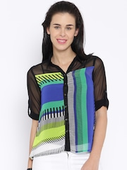 AND by Anita Dongre Multicoloured Polyester Printed Sheer Shirt