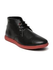 Bata Men Black Leather Chukka Boots