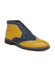 Bata Men Mustard Yellow & Navy Leather Boots