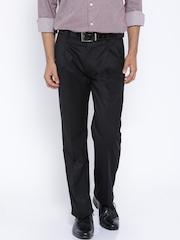 Arrow Black Smart Fit Pleated Formal Trousers