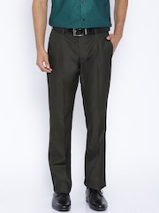 Arrow Charcoal Grey Slim Fit Formal Trousers
