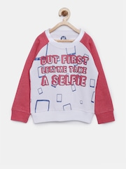 YK Girls White & Pink Printed Sweatshirt