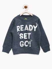 YK Girls Navy Printed Sweatshirt