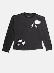 YK Girls Charcoal Grey Sweatshirt