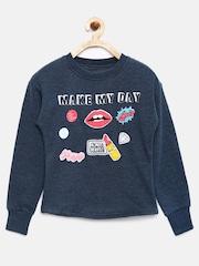 YK Girls Blue Printed Sweatshirt