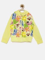 YK Disney Girls Yellow Floral Print Hooded Sweatshirt