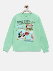 YK Girls Green Printed Sweatshirt