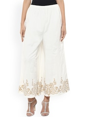 Bhama Couture White Relaxzed Fit Palazzo Trousers
