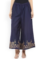 Bhama Couture Blue Relaxed Fit Palazzo Trousers