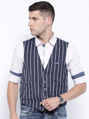Jack & Jones Navy Striped Single-Breasted Waistcoat